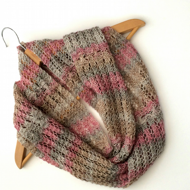 Hand Knitted Pastel striped lace infinity scarf