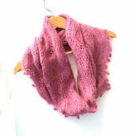 Pink hand knit lace mohair cowl