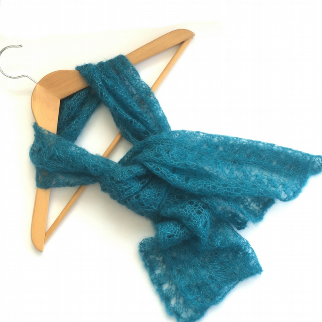 Teal lace scarf hand knit in kid mohair