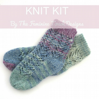 Bed socks knitting kit , hand knit lace bed socks , instructions and yarn