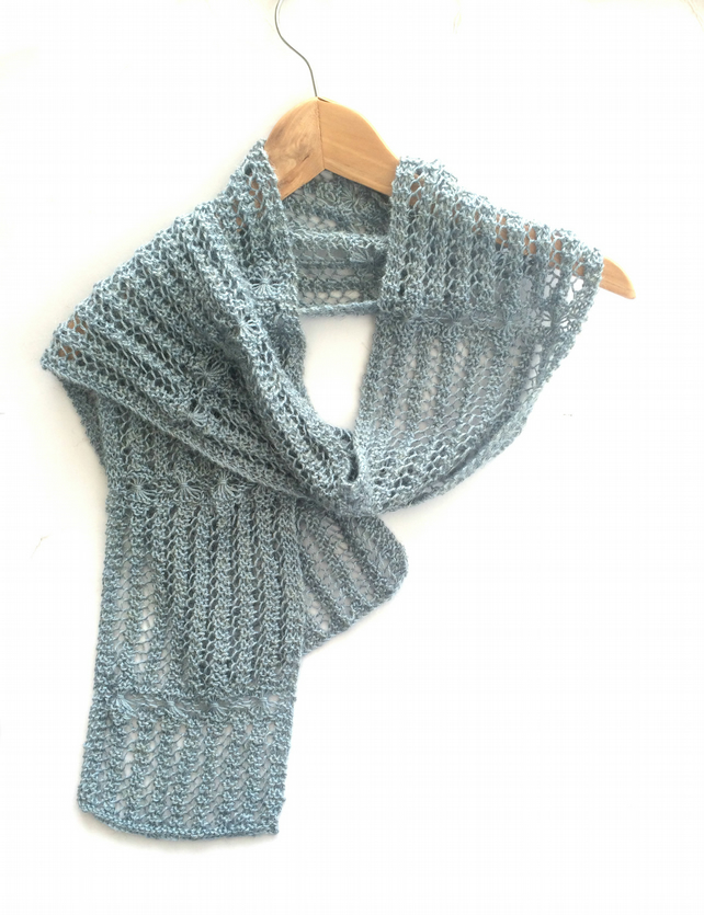 Light Blue Lace Scarf