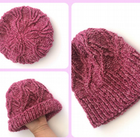 Raspberry pink cable hat