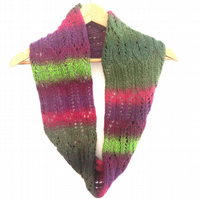 Striped wool infinity scarf