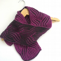 Hand knitted reversible scarf