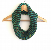 Hand knitted reversible striped cowl