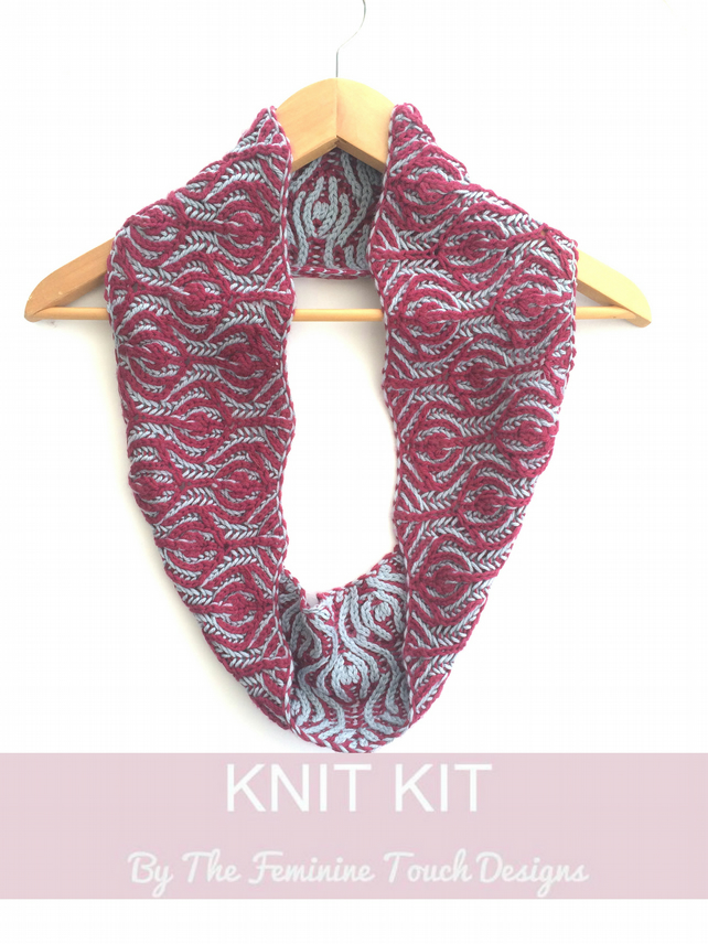 Floral Brioche Cowl Knitting kit