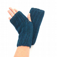 Teal alpaca Fingerless gloves