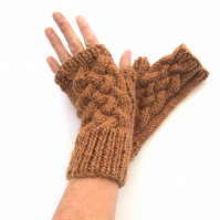 Copper mohair fingerless gloves