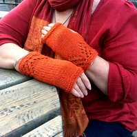 Orange wool fingerless gloves