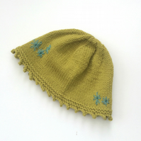 Hand knitted green wool hat