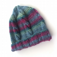 Striped cable knitted hat
