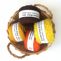 4 balls mohair boucle yarn in shades of autumn