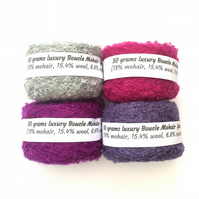 4 balls mohair boucle yarn in purple shades
