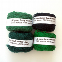4 balls of green mohair boucle yarn