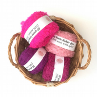4 balls of pink mohair boucle yarn