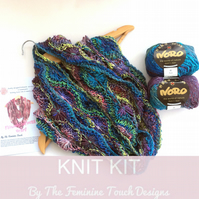 Knitting kit for flowery infinity scarf