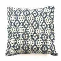 Blue and natural cushion cover  alpaca & acrylic knit