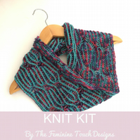 "Brioche Cowl Knitting kit ""Stepping Stones"