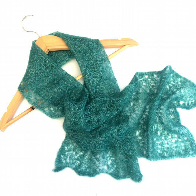 Green lace scarf hand knit in kid mohair