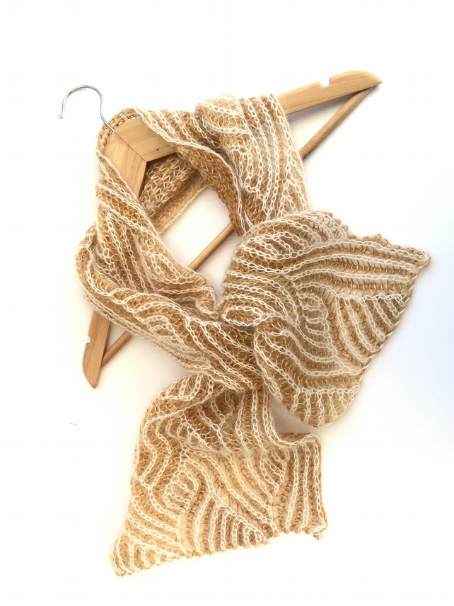Reversible mohair and wool lace scarf