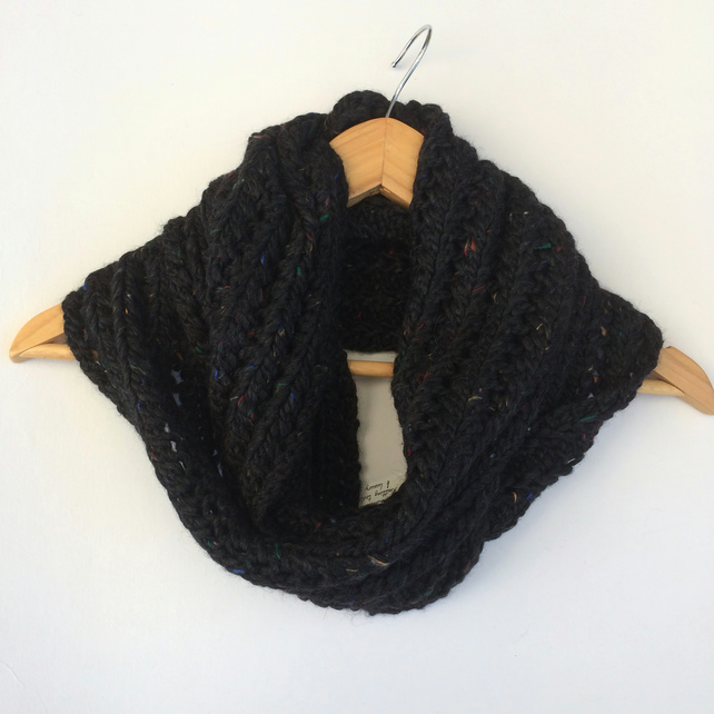 Black Hand Knit Lace Cowl