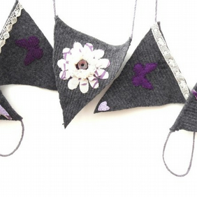 Grey Wool Bunting with applique butterflys and flowers