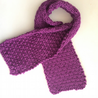 Pink - Purple Wool Knitted scarf