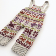 Playful Dungarees knitting pattern in fair isle 100% wool
