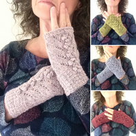 Tweedy 100% wool bobble fingerless gloves