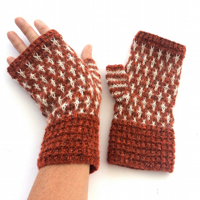 Burnt Orange wool fingerless gloves