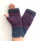 Knitted fingerless gloves blue maroon