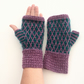 Lilac & Turquoise wool fingerless gloves
