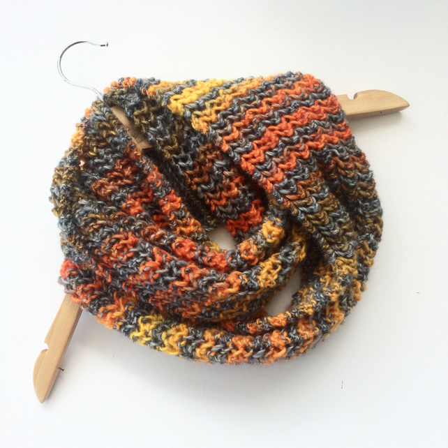 Grey Orange Striped hand knitted wool cowl scarf