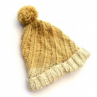 Barberry Yellow Hand Dyed Alpaca Beanie Hat
