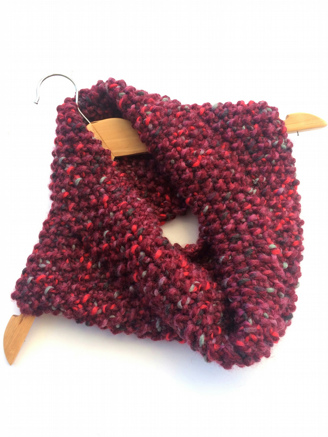 Maroon Red Chunky Cosy Snood