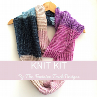 Checkerboard infinity scarf Knitting kit