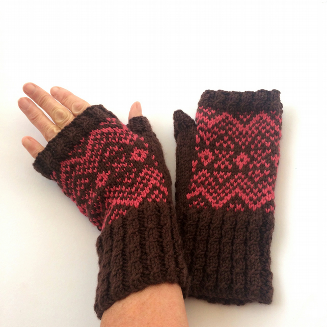 Brown & pink   hand knit fingerless gloves