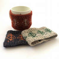 Pine Tree mug hugs , fair isle knitted cosies