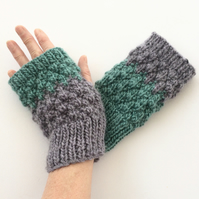 Purple Turquoise Fingerless gloves