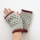 Light Grey Fingerless gloves with red trim