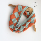 Acrylic Hand knitted cowl in orange and duck egg blue