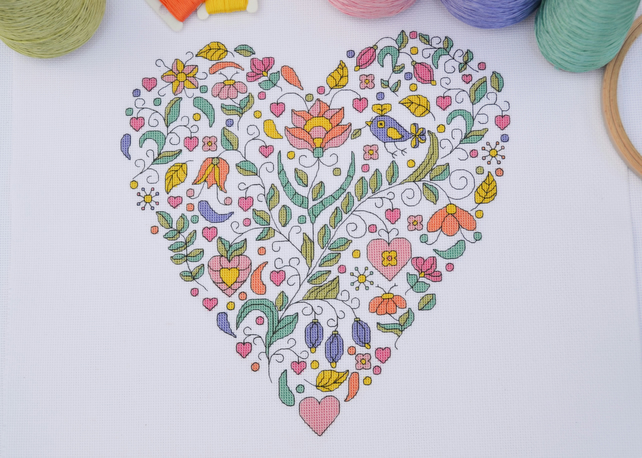Modern Floral Heart Sampler Cross Stitch Kit - DMC Threads and Aida Fabric