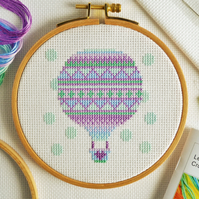Cross Stitch For Beginner's - Easy Hot Air Balloon Design Tutorial Kit with Hoop