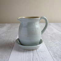 Duck Egg Blue Handmade Stoneware Jug and Saucer - Made to Order