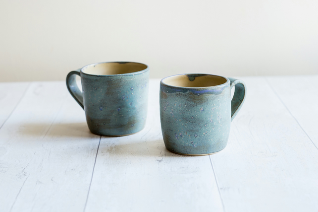 Frosty Blue Stoneware Mug - Ready to Ship - Free UK Shipping