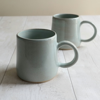 Handmade Duck Egg Stoneware Mugs - Made to Order - Free UK Shipping