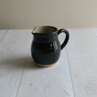 Handmade Stoneware Jug - Dark Blue Glaze - Ready to Ship