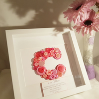 Personalised button art letter, new baby gift, name definition.