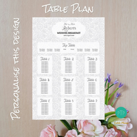 Floral Grey Wedding Seating Table Plan - A2 Poster