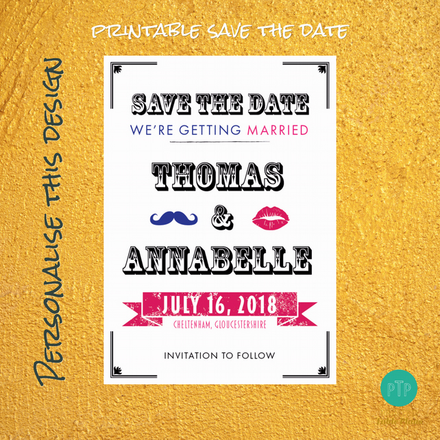 Printable Funky Lips Save the Date Cards